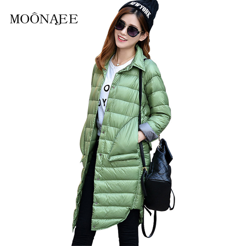 2017 New Autumn Womens Lightweight Single Breasted Down Jackets Shirt Collar Slim Long Down Coats female Outerwear YR16