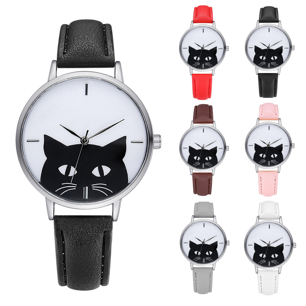 New Watch Women Stainless Steel Case Leather Band Casual Fashion Female Cat Watches Luxury Brand Quartz Watch Bracelet G066 women s split leather band stainless steel quartz analog bracelet watch w owl pendant dark brown