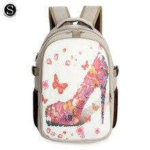 Senkey СТИЛЬ женщины рюкзак печати холст Пейзаж бабочка дизайнер рюкзак школьные сумки для подростков девочек сумки