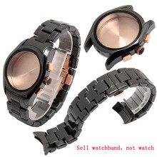 Correa de reloj de cerámica para hombre, pulsera de reloj masculino AR1400 AR1410 de 22mm, Correa con hebilla de mariposa, accesorios y herramientas gratuitas