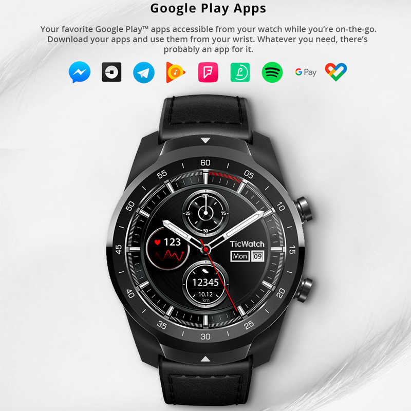 100% Asli Global Ticwatch Pro Android Wear NFC Google Pay GPS Smart Watch IP68 Tahan Air Layar AMOLED Smartwatchs untuk Pria