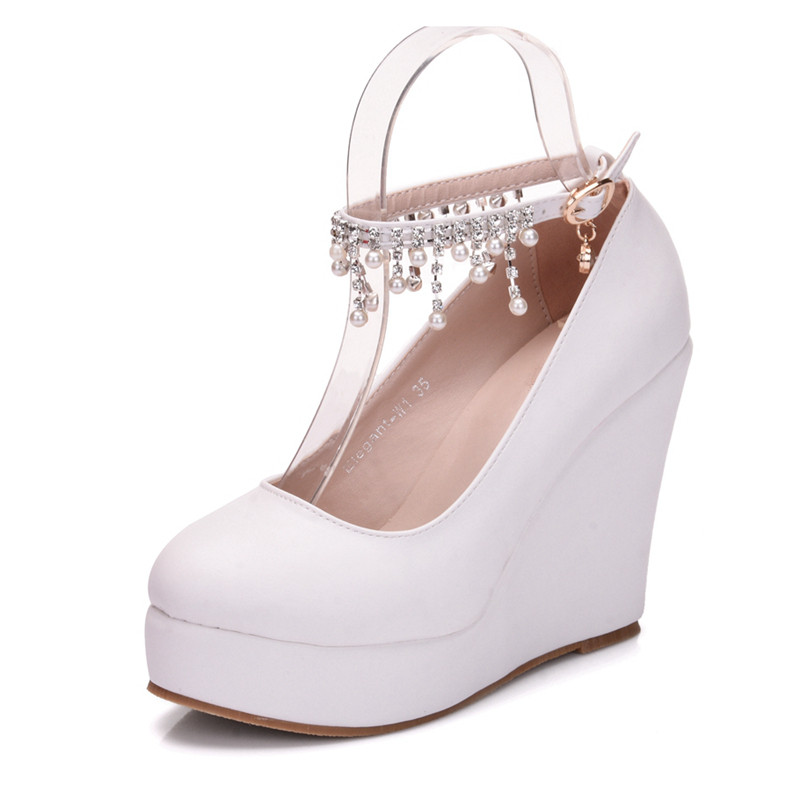 Ladies Sweet Shoes Cute Princess Party High Heels Plus Size 33 42 White  Rhinestone Buckle Fashion Wedges Shoes XY B0074-in Women s Pumps from Shoes  on ... 0f4b474062fa