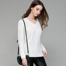 цены на 2019 New Women Fashion Sweater Upper Outer Garment V-neck Solid Color Long Sleeve Pullover Female Sweater Slim Fit Spring Summer  в интернет-магазинах