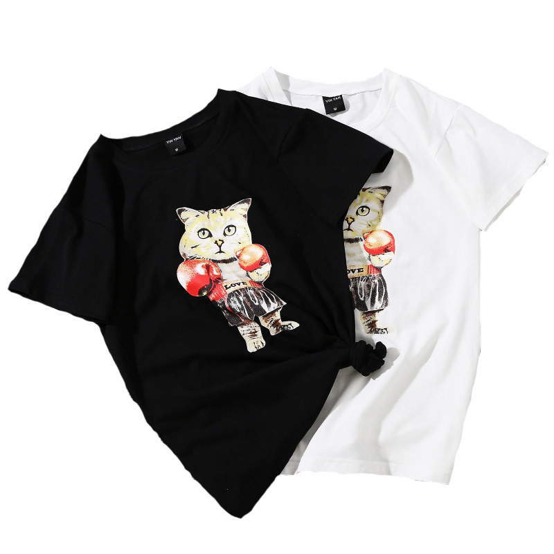 2018 New Women Harajuku T shirt Summer Fashion Print Tees Quality Funny Cartoon Lovely Cat Printed Tops Plus Size Drop Ship