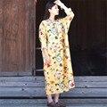 Scuwlinen 2017 primavera outono vestidos casual dress galhos de árvores de manga longa flor de impressão de linho solto dress mulheres maxi dress s42