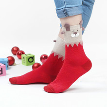 New Cute 3D Elk Pattern Women Girl Cotton Crew Christmas Socks