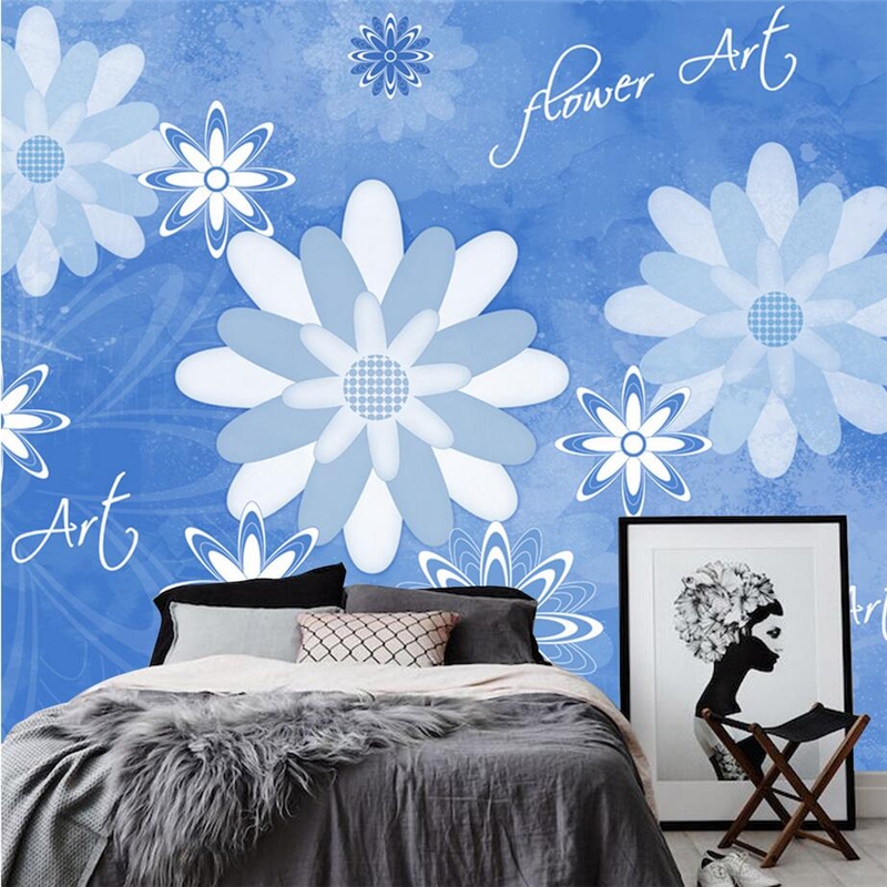 Custom Flowers Photo Wallpaper Blue Dream Blue Wallpaper Embossed Non-Woven for Study Living Room Kid's Room Bedroom Restaurant 0 53x10m modern blue gray green simple non woven wallpaper living room bedroom wedding room shop decoration wallpaper