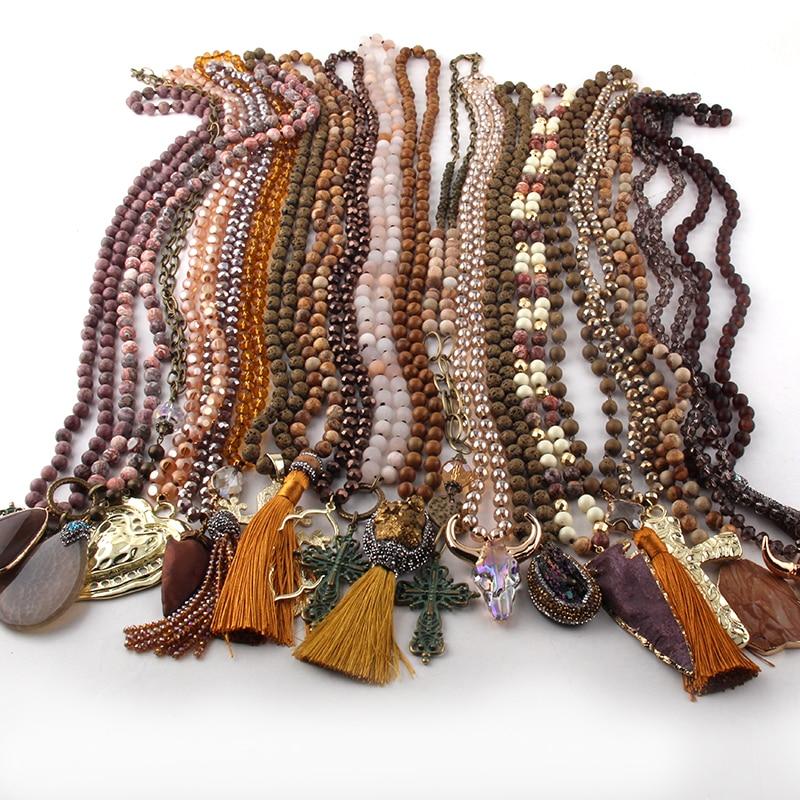 Женское Ожерелье MOODPC, разноцветное коричневое ожерелье ручной работы, 20 шт.