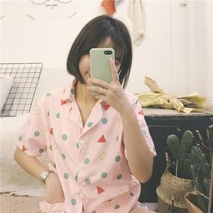 Image 4 - Yeni 2019 pijama setleri kadınlar baskı geometrik sevimli 3 adet Set kısa kollu üst + şort elastik bel + Blinder gevşek S83201