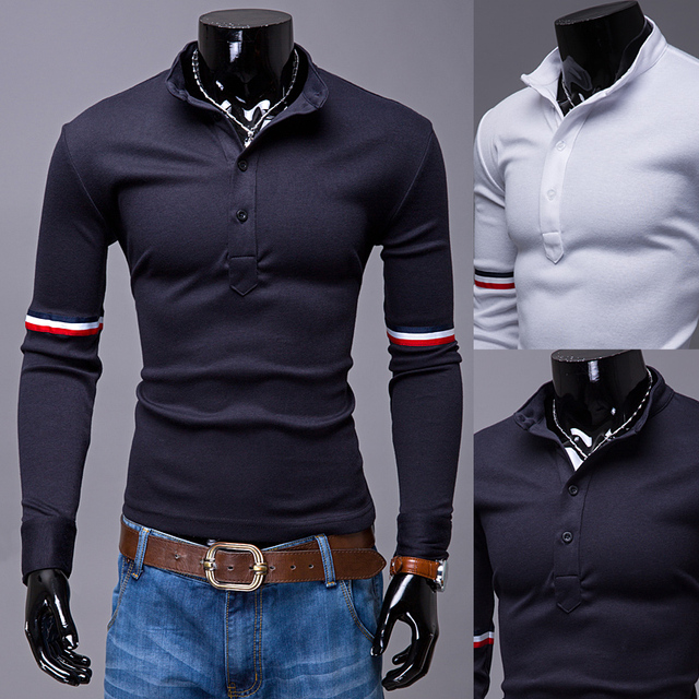 Mens Polo Shirt Brands 2017 Male Long Sleeve Fashion Casual Slim Sleeve Stripes Polos Men  Jerseys    2XL OUREB2