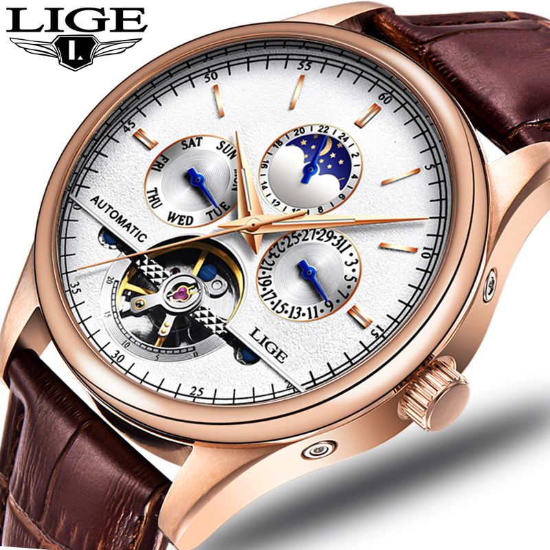 LIGE 2019 Top Marque De Luxe Mode Hommes en cuir Tourbillon Montre Automatique Montre-Bracelet Hommes Mécanique Montres relogio masculino