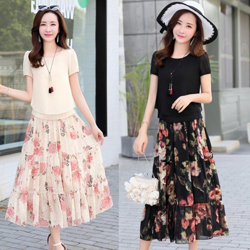 2019 Summer Chiffon Dress Women Elegant Short Sleeve Flower Print Pleated Dress Ladies Beach Dress 2 pieces