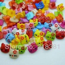200 шт./партия, разные цвета в произвольном порядке, пластиковая одежда с рисунком «Hello kitty», одежда для шитья, детская одежда на пуговицах, 14X13 мм