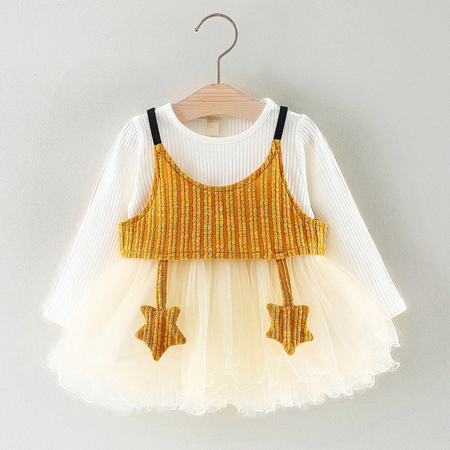 d1f3ce1af29 2Pcs Knitted Vest + Dress For Baby Girls Spring Autumn Long Sleeve Princess  Dress White Mesh Boll Gown Beautiful Dress Daughter