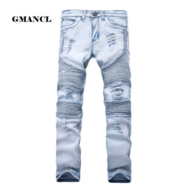 2017 Heren Skinny Jean Verontruste Slim Elastische Jeans Denim Biker Jeans hiphop Gewassen Ripped Jeans plus size 28-42, YA558