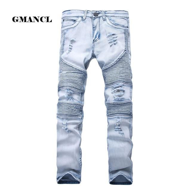 2017 Mens סקיני ז 'אן ג' ינס במצוקה ג 'ינס אלסטיים Slim ינס Biker היפ הופ מכנסיים שטף Ripped ג' ינס בתוספת גודל 28-42, YA558