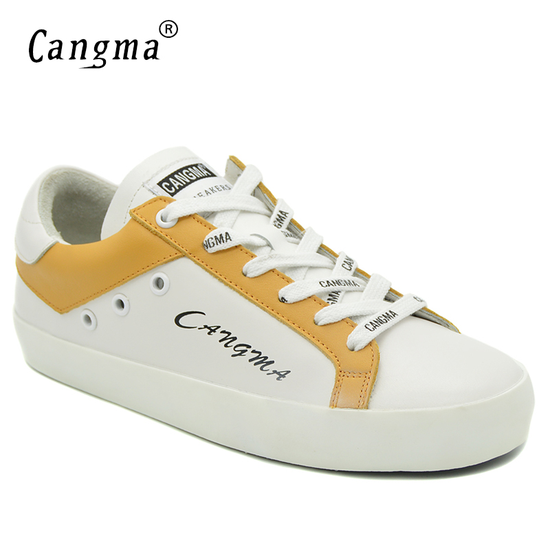 CANGMA Brand Sneakers Women Fashion Flats Casual Shoes White And Yellow Handmade Genuine Leather Breathable Platform Woman Shoes
