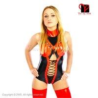 Сексуальный латексный купальник трико, красный, с высоким вырезом, латексный комбинезон, шнуровка спереди и сзади, комбинезон с красной обм