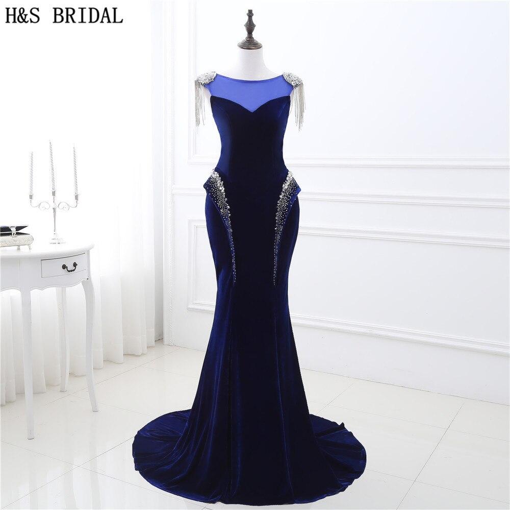 Robe de soirée sirène bleu foncé longue col transparent robes de soirée formelles Sexy perlée soirée dos nu robes de bal à lacets