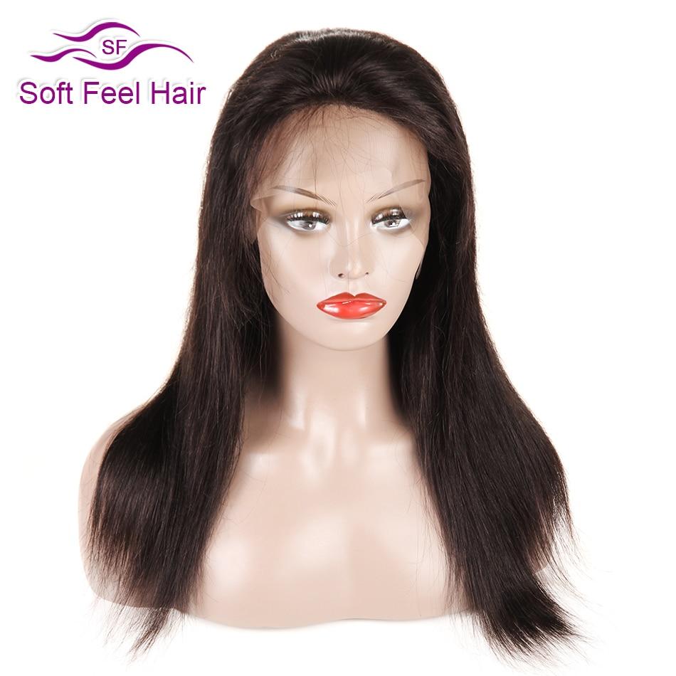 Μαλακή τρίχα μαλλιών προτίμησε μπροστά Αντρικά μαλλιά περούκες με μωρό μαλλιά Remy Βραζιλίας ευθεία μαύρη περούκα δαντέλα για γυναίκες 12-18 ίντσα