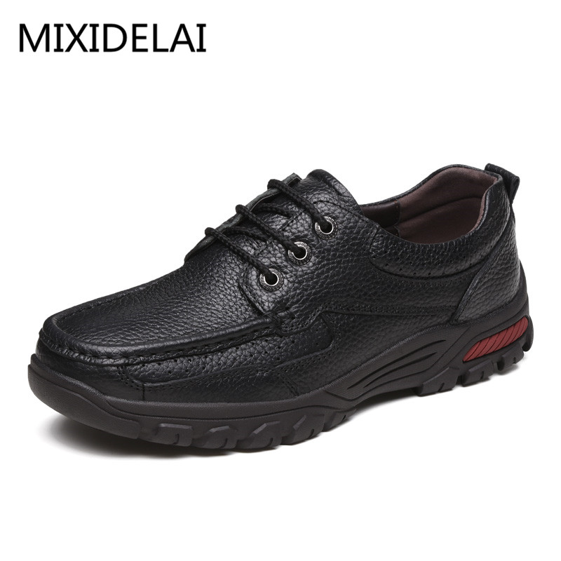 MIXIDELAI Flats New Arrival Authentic Brand Casual Men Genuine Leather Loafers Shoes Plus Size 38-48 Handmade Moccasins Shoes