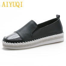 Купить с кэшбэком AIYUQI Women's Loafers One foot 2019 spring new genuine leather women's flat shoes, wild student casual shoes women