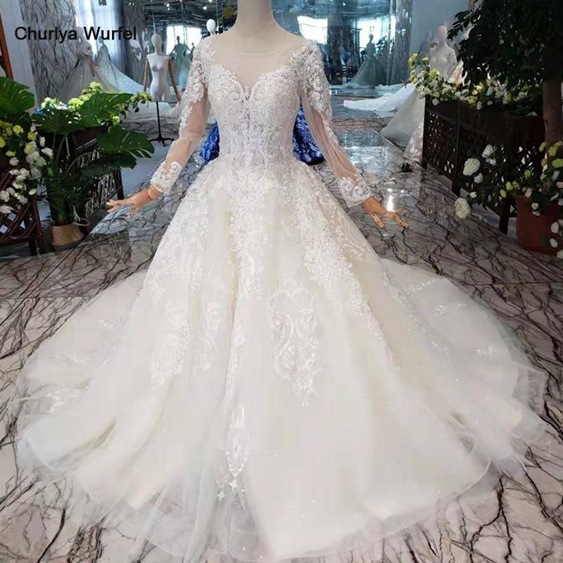 LS5533G Simple boho robes de mariée 2019 o-cou manches longues plage robes de mariée robes de mariée a-ligne 11.11 promotion discount