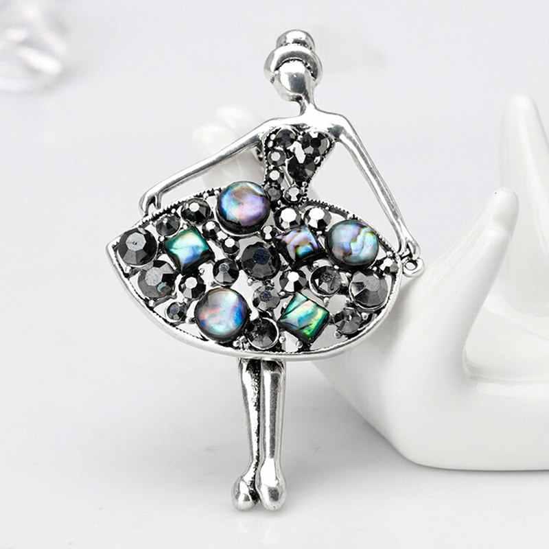1Pcs Gadis Fashion Glamor Putri Cantik Ballerina Bros Kristal Pin Perhiasan Aksesoris