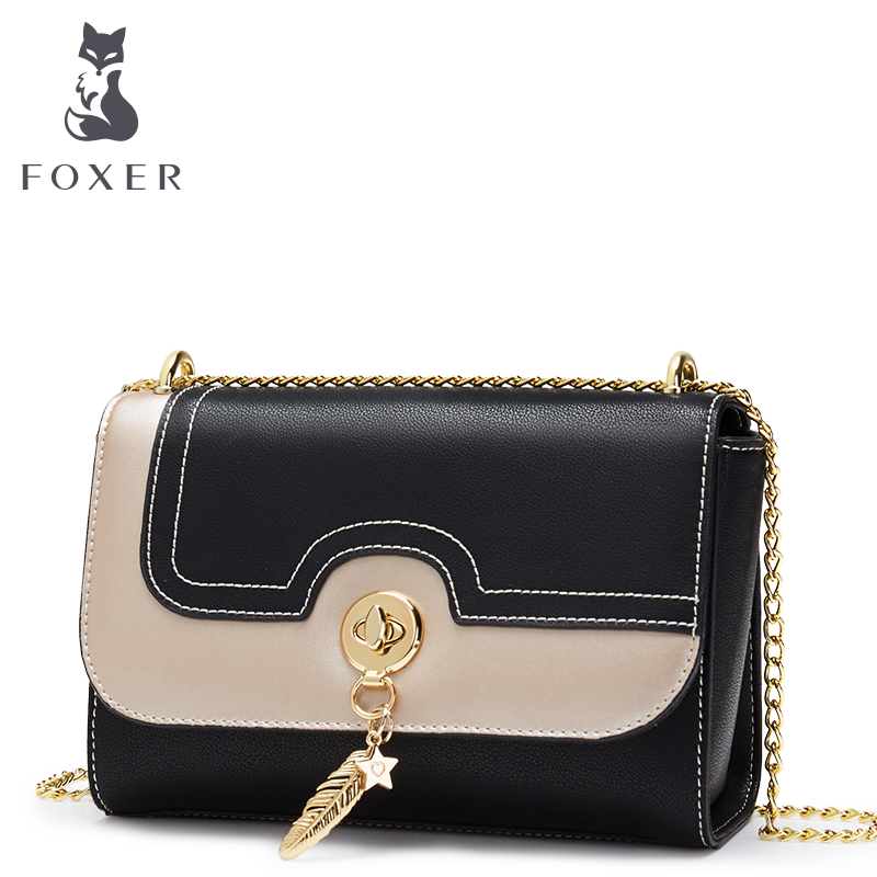 FOXER Brand Women Crossbody Bags Leather Shoulder Bag for Lady Girl Small Fashion Chain Bag Flap Valentine's Day Gift twenty four genuine leather female shoulder bags fashion style chain bags with rivets for young girl small lovely handy flap bag