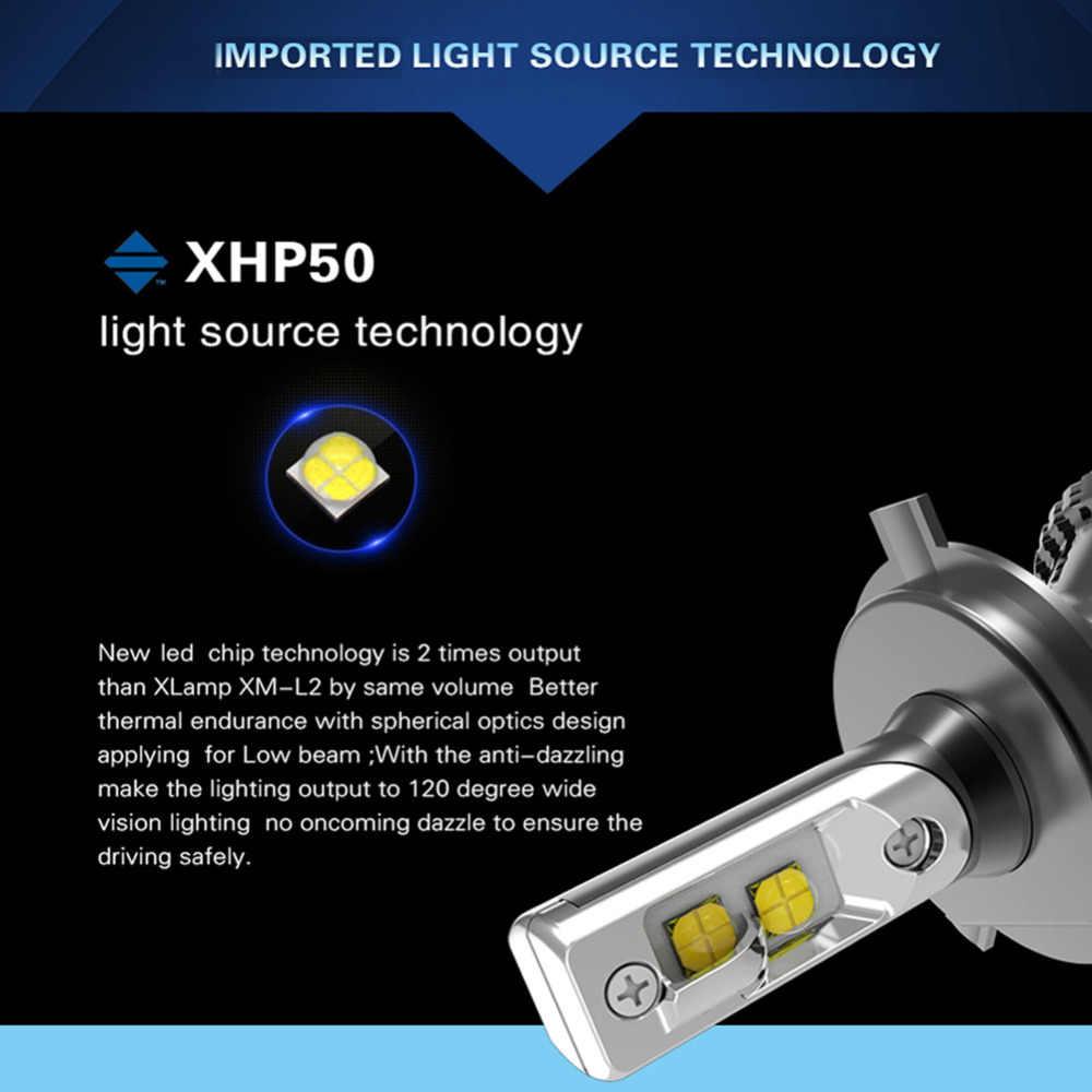 1 Pair Car Headlight H7 Led H4 H11 HB4 H8 HB3 H9 9005 9006 XHP50 LED Headlights Bulb 60W 8000LM Automobile Fog Light 6500k