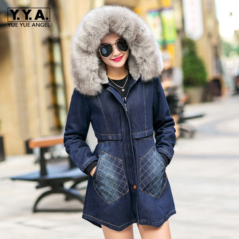 Winter Fur Lining Thicken Warm Womens Long Coat Faux Fur Collar Hooded Denim Jacket Washed Jeans Female Parka Slim Fit Overcoats