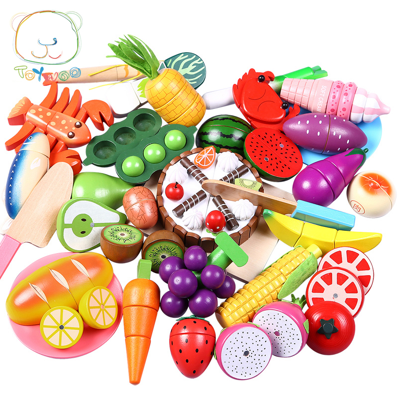 Toywoo Cutting Toys Kitchen Food Toys Fruit Fish Vegetable Blocks Children Lovely Wooden Toys Play House Toy For Baby Kids