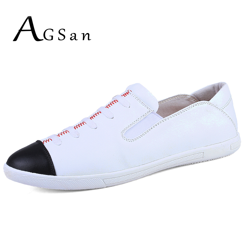 AGSan Genuine Leather Shoes Men Casual Shoes Luxury Brand Loafers Men Slip On Fashion Flats England Style Leather Lazy Shoes top brand high quality genuine leather casual men shoes cow suede comfortable loafers soft breathable shoes men flats warm