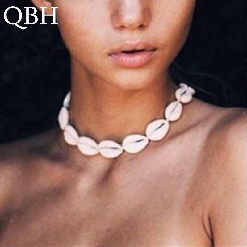 NK142 Bohemia Boho Sea Cowrie Shell Choker Necklace Women Rope Natural Shell Jewellery Beach Chocker Simple Neckless For Girls