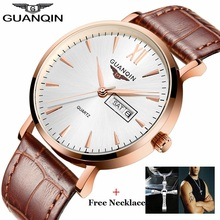 2016 GUANQIN Mens Watches Week Date Waterproof Sport Watch Men Fashion Casual Leather Strap Quartz Wristwatch Gifts For Friends women watches 2016 guanqin new quartz watches for ladies waterproof wristwatch with black sky dial and leather watchband