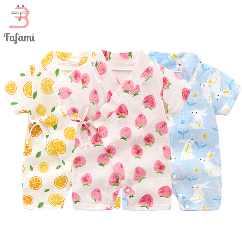 Baby   Rompers   for Cute Newborn Baby Clothes Belt Kimono Tiny Cottons boy baby girls summer   Romper   kids clothing baby jumpsuits