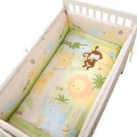 원숭이 기린 사자 소프트 아기 침대 침대 범퍼 세트 통기성 신생아 안전 울타리 아기 범퍼 침구 액세서리