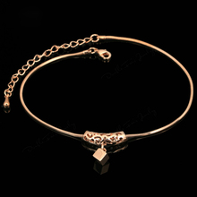 Fashion Women Cube Drop Foot Chain Anklet Alloy Summer Beach Sandal Ankle Jewelry Gifts KQS8
