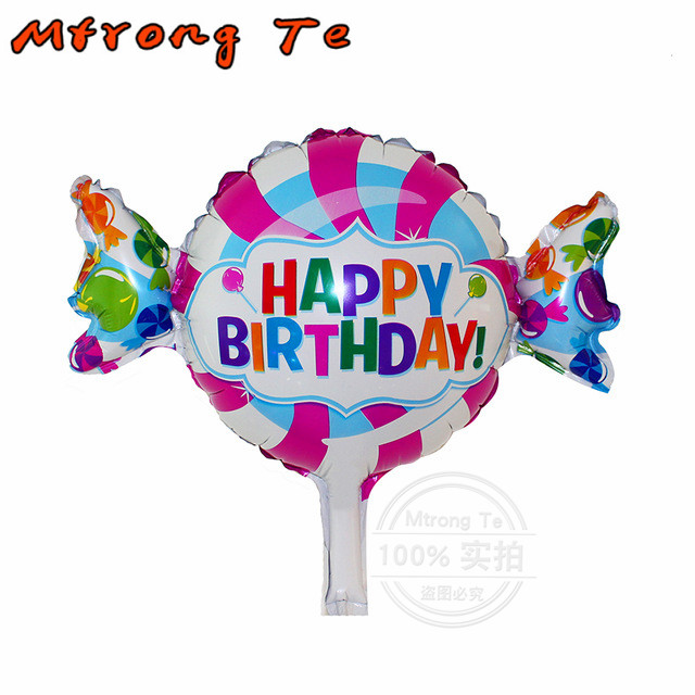 Mtrong Te 50pcs mini Anagram Happy Birthday Sweet Shop Foil Balloons Cartoon Design Candy Balloon Kids Birthday Party Supplies