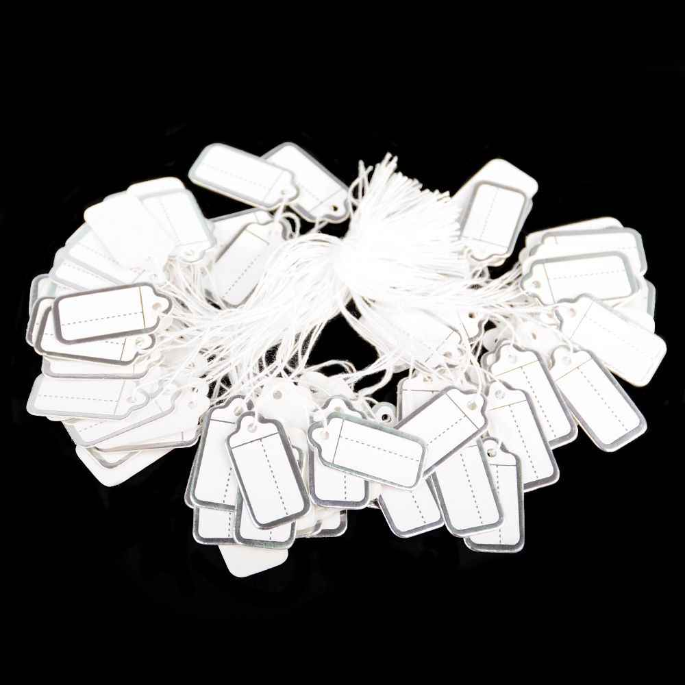100pcs 쥬얼리 문자열 코드 가격 태그 사용자 정의 인쇄 빈 레이블 골드 실버 디스플레이 액세서리 보석 저장소