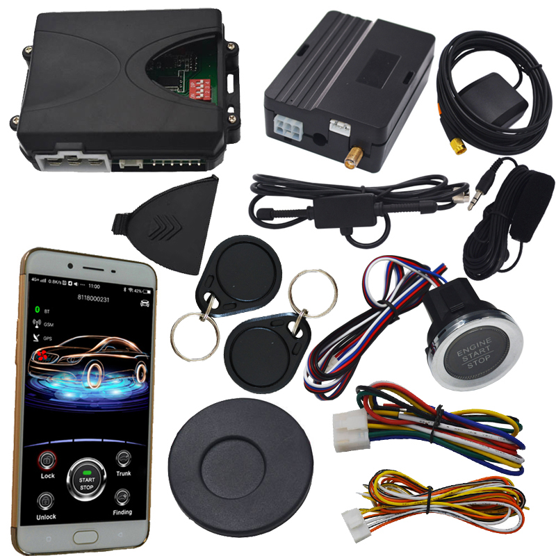 gsm&gps rfid car alarm with push engine start stop button remote start stop working with original car key remote wholesale price easyguard pke car alarm system remote engine start stop shock sensor push button start stop window rise up automatically