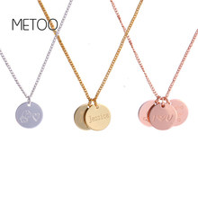 METOO 12*12 mm Round Coin Necklace Custom Name Necklace Personalized Drop Disc Pendants Necklaces Beauty Mother Gifts for Etsy(China)