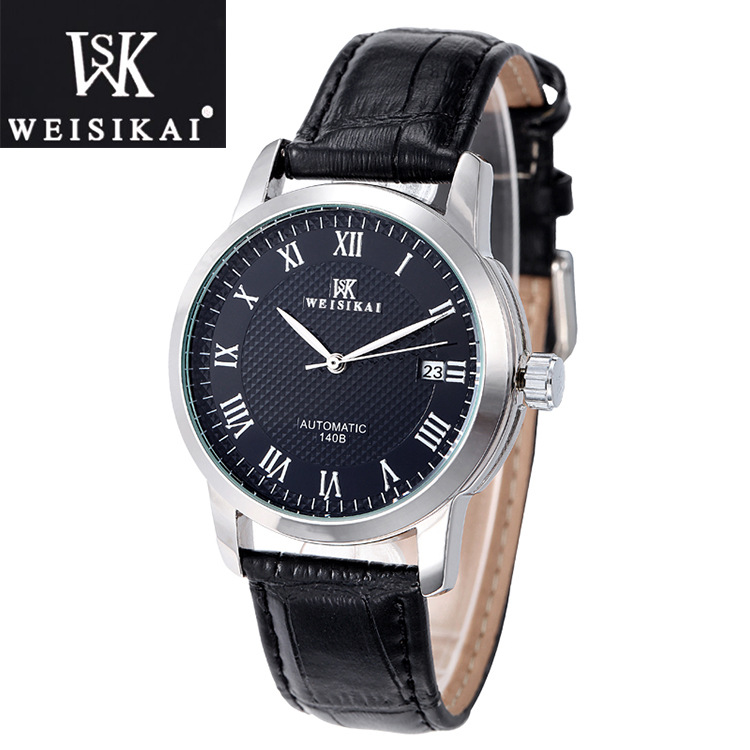 WEISIKAI Luxury Brand Men Mechanical Watch Waterproof Genuine Leather Male Watch Automatic Business Wristwatch Relogio Masculino crazy horse genuine leather men bags vintage loptop business men s leather briefcase man bags men s messenger bag 2016 new 7205