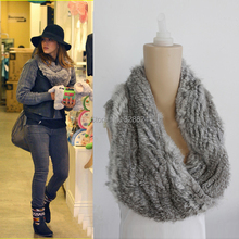 Free shipping Fashion handmade Long double-sided warm genuine rabbit fur ruff scarf  wrap