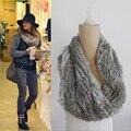 O envio gratuito de Moda handmade Longo double-sided quente coelho genuine fur ruff envoltório do lenço