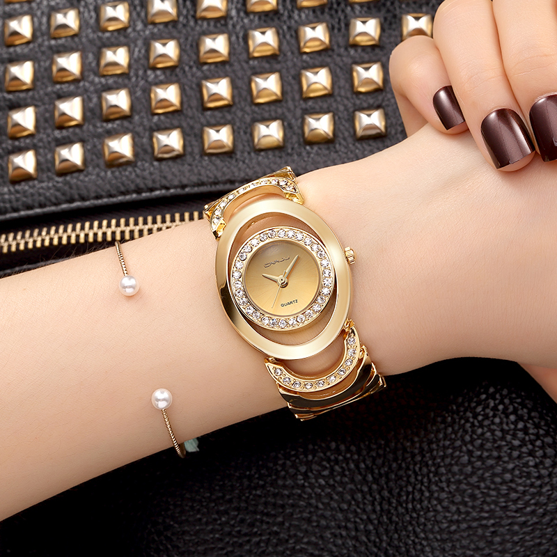 Crrju luxury women watch famous brand gold fashion design for Luxury women