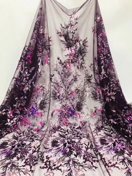 African Lace Fabric 2019 High Quality Lace Material Embroidery Nigerian Lace Fabric With Sequins French Lace Fabric
