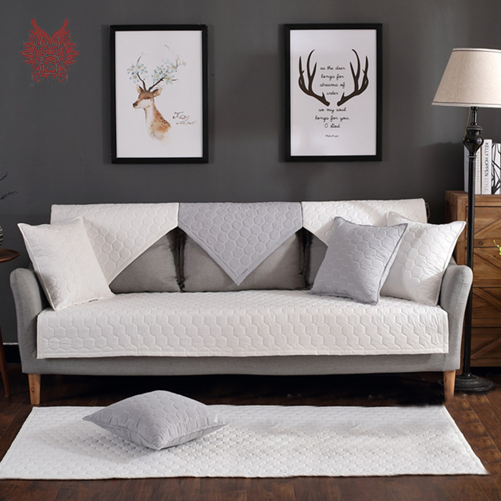 Modern White Light Grey Plaid Quilted Cotton Sofa Cover