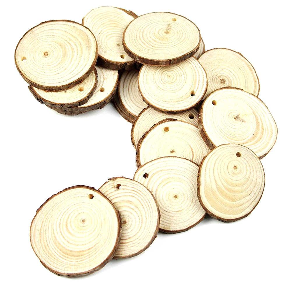 50pcs 5-6 CENTIMETRI di Legno Log Fette di Dischi per L'artigianato FAI DA TE Da Sposa Centrotavola con 10M di Iuta Spago