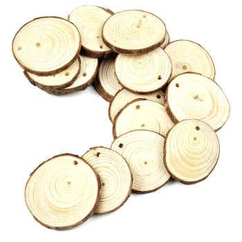 50pcs 5-6CM Wood Log Slices Discs for DIY Crafts Wedding Centerpieces with 10M Jute Twine
